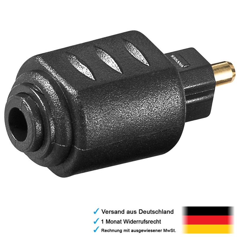 adapter mini klinke aux kupplung buchse weiblich 3 5mm auf opto stecker optical ebay. Black Bedroom Furniture Sets. Home Design Ideas