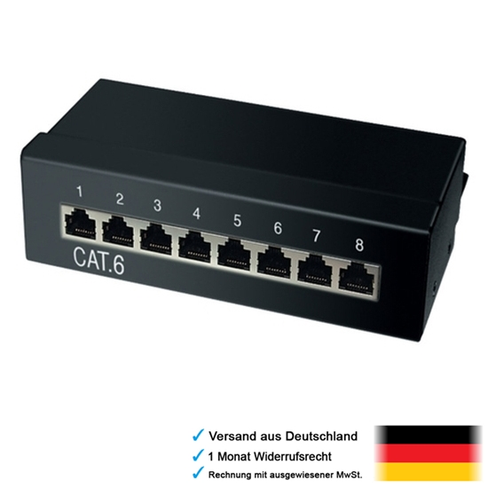 8fach 8x rj45 cat6 splitter switch f r netzwerk lan internet kabel zum einbau ebay. Black Bedroom Furniture Sets. Home Design Ideas